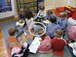 Sudbrook Nursery School children reading in petersham hall